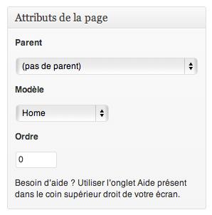 Modèle de page WordPress