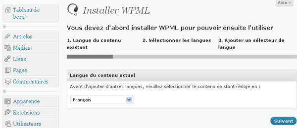 installation de wpml