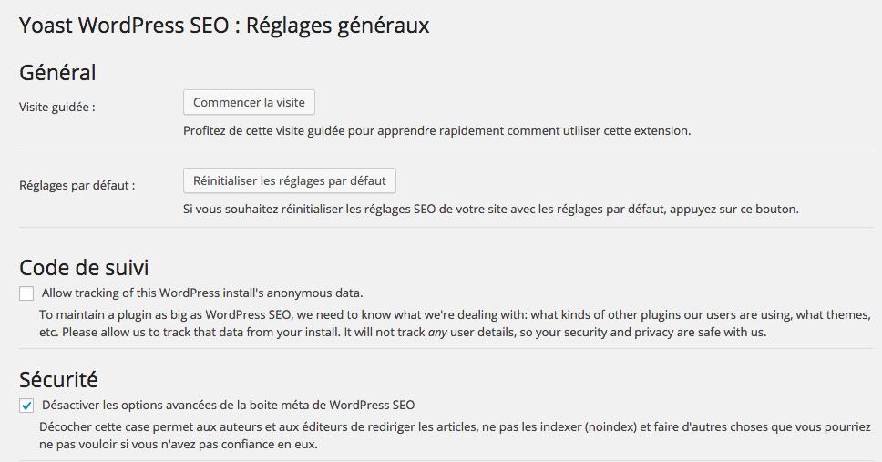 réglages généraux WordPress SEO