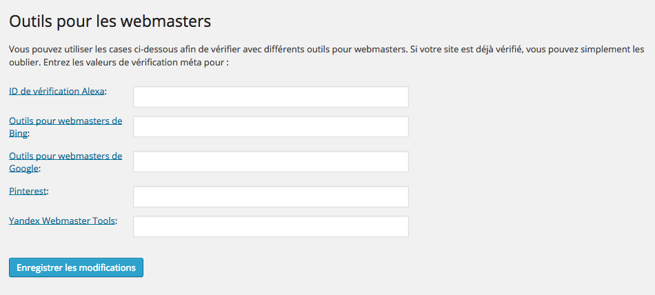 webmasters WordPress SEO