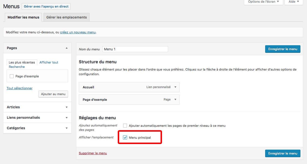 créer un menu dans WordPress