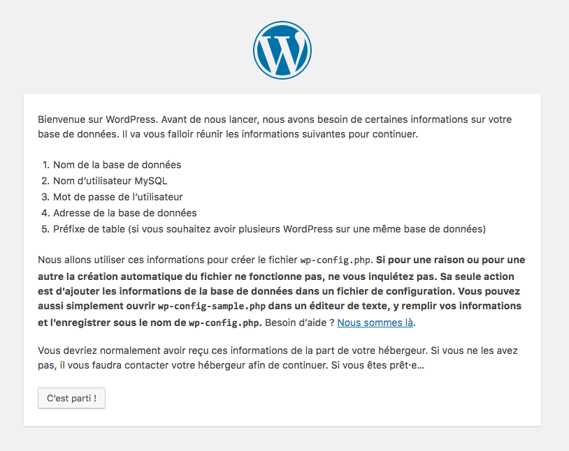installer wordpress local étape1