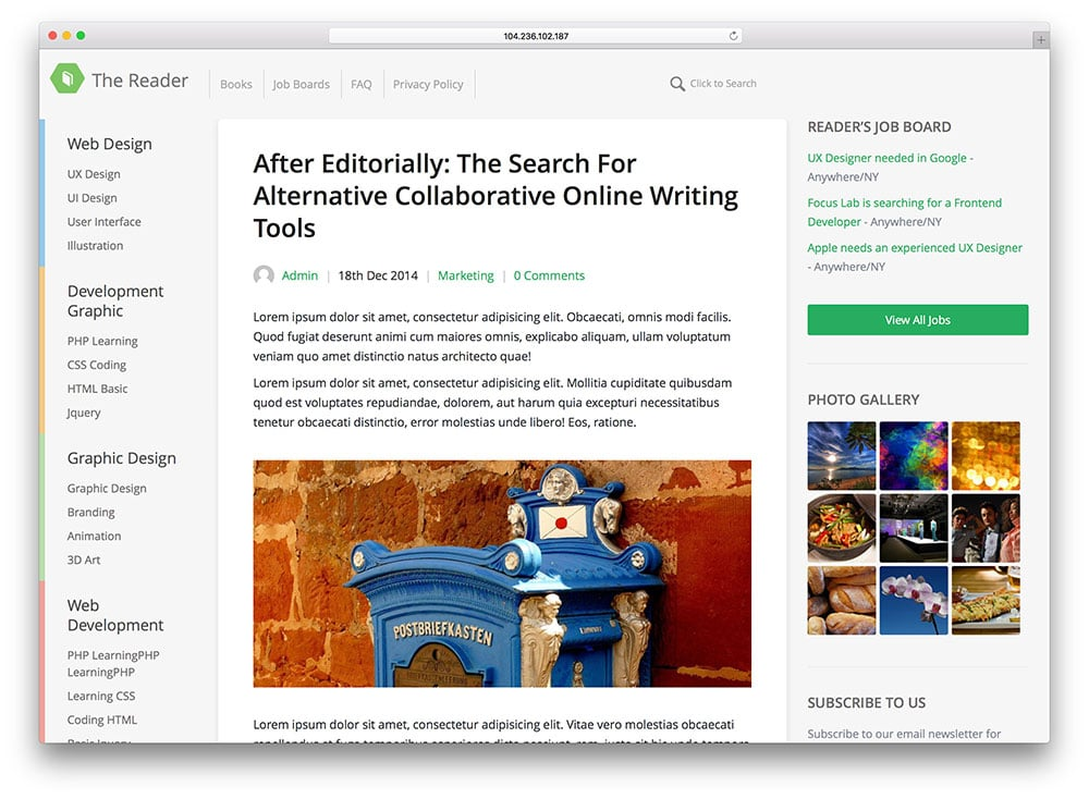The Reader - thème de blog WordPress minimaliste