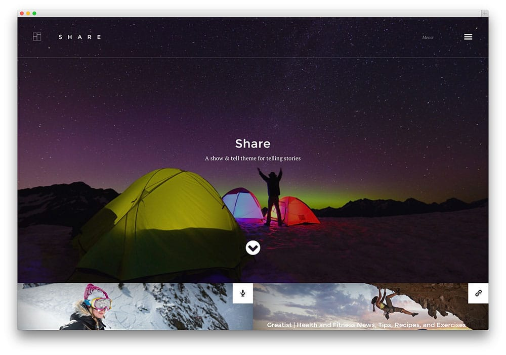 share - thème de blog créatif pour les aventures