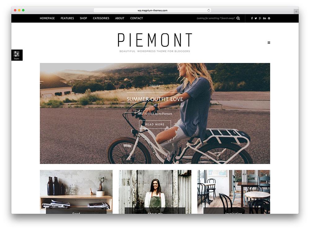 Piemont - thème de blog WordPress minimaliste