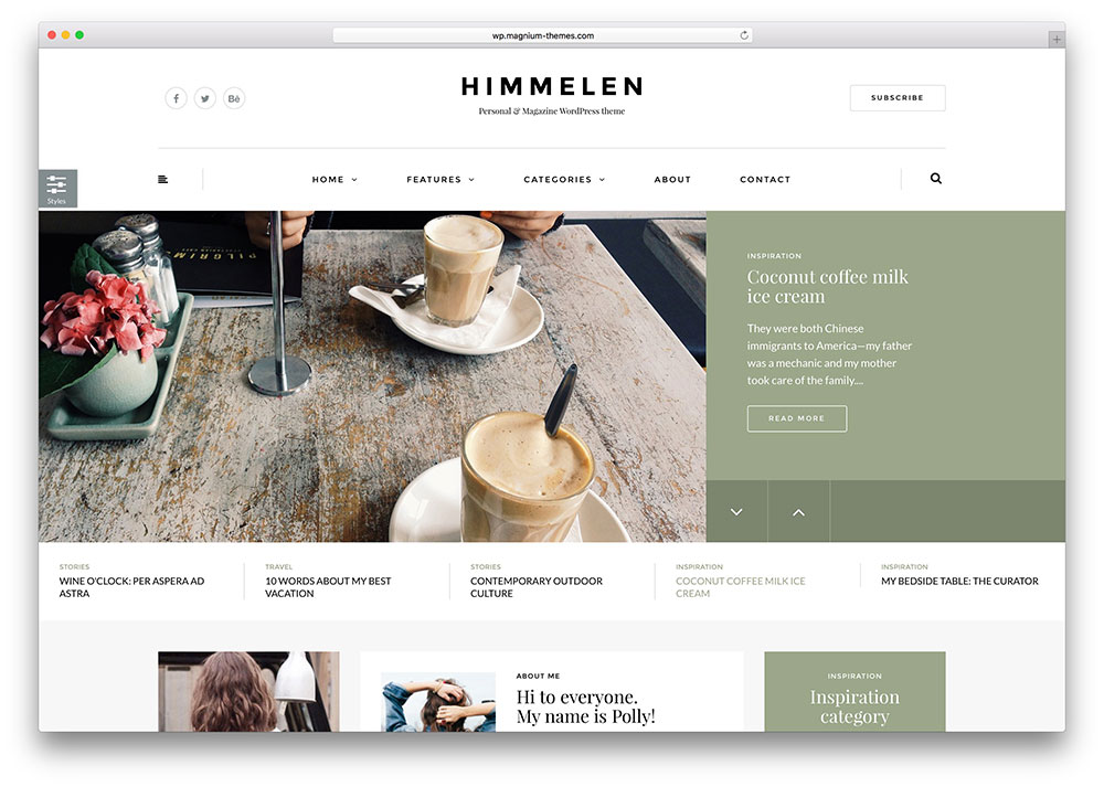 Himmelen – thème de blog WordPress simple