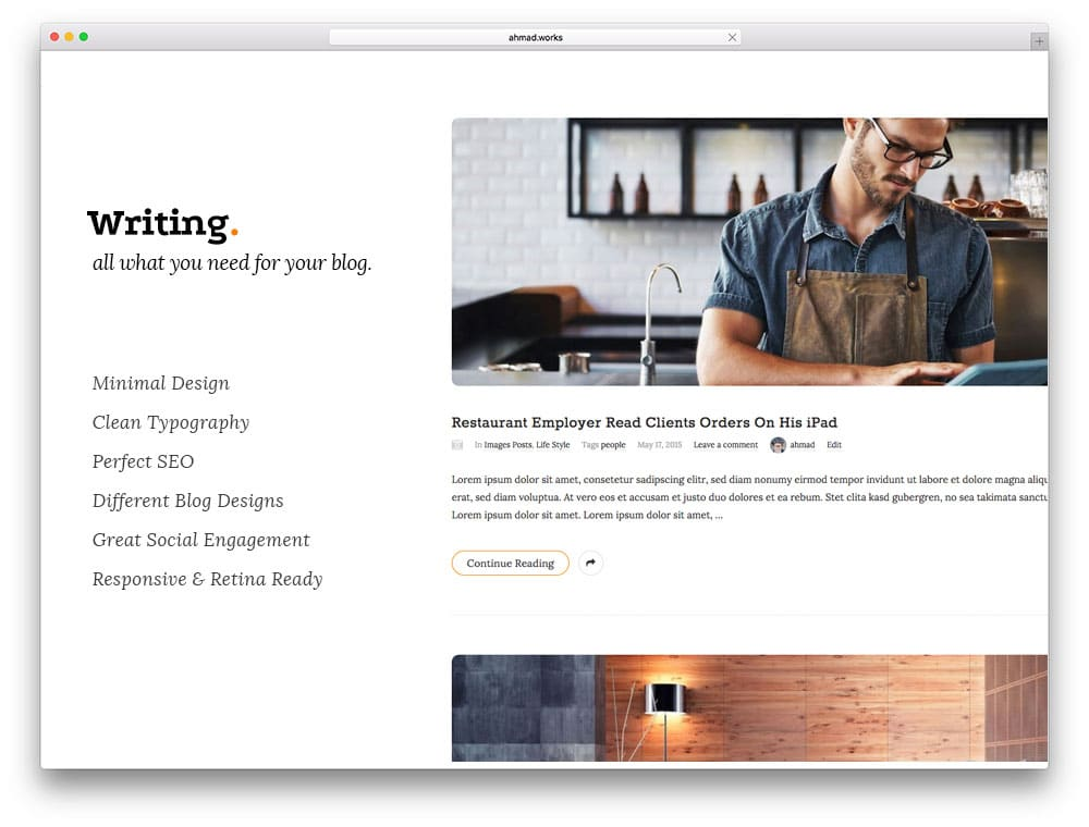 Writing – thème de blog WordPress minimaliste