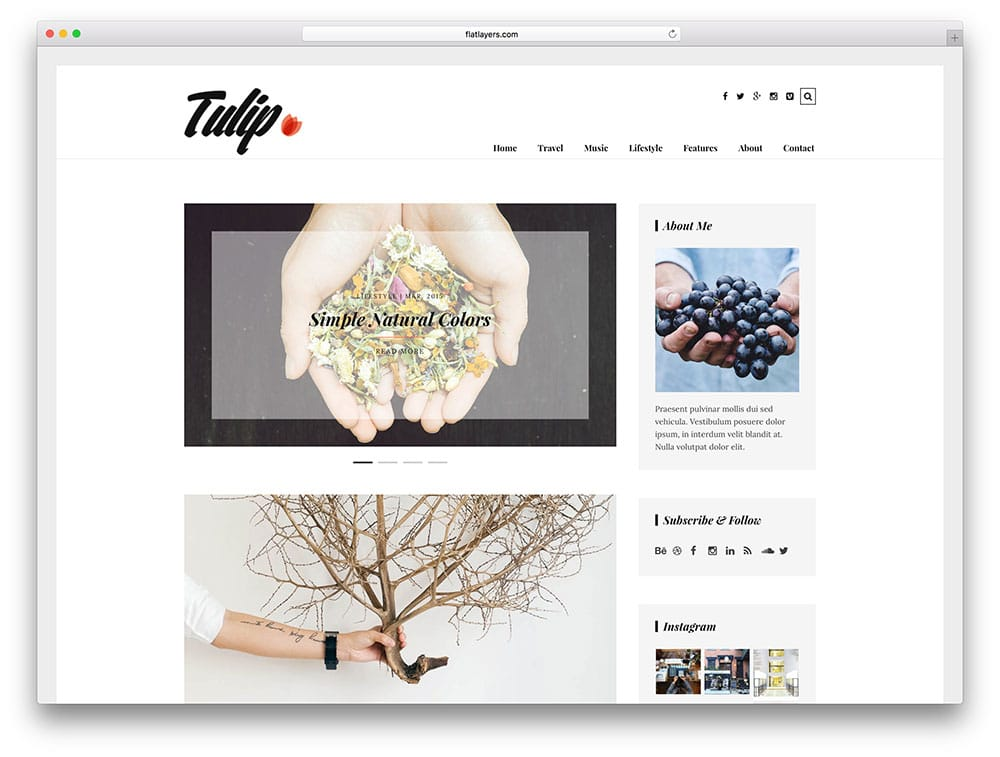 tulip – thème de blog WordPress simple