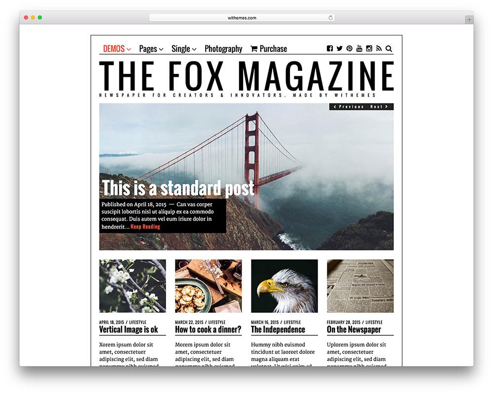 The Fox – thème magazine pour les blogueurs créatifs
