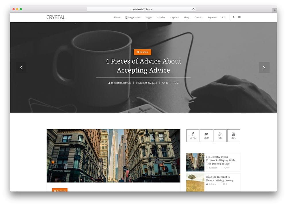 Crystal – thème de blog WordPress personnalisable et simple