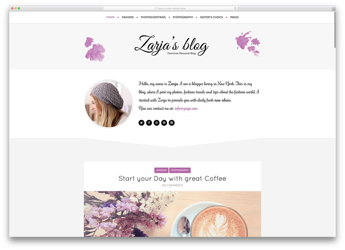 Zarja – thème de blog WordPress féminin