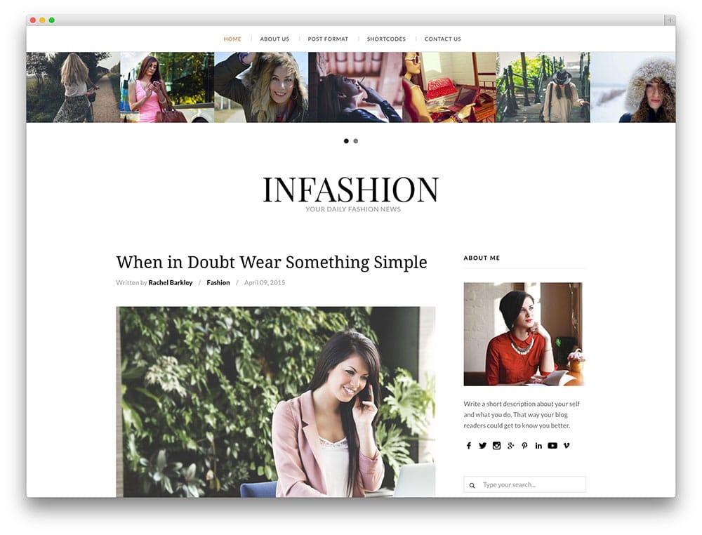 inFashion - thème de blog de mode net
