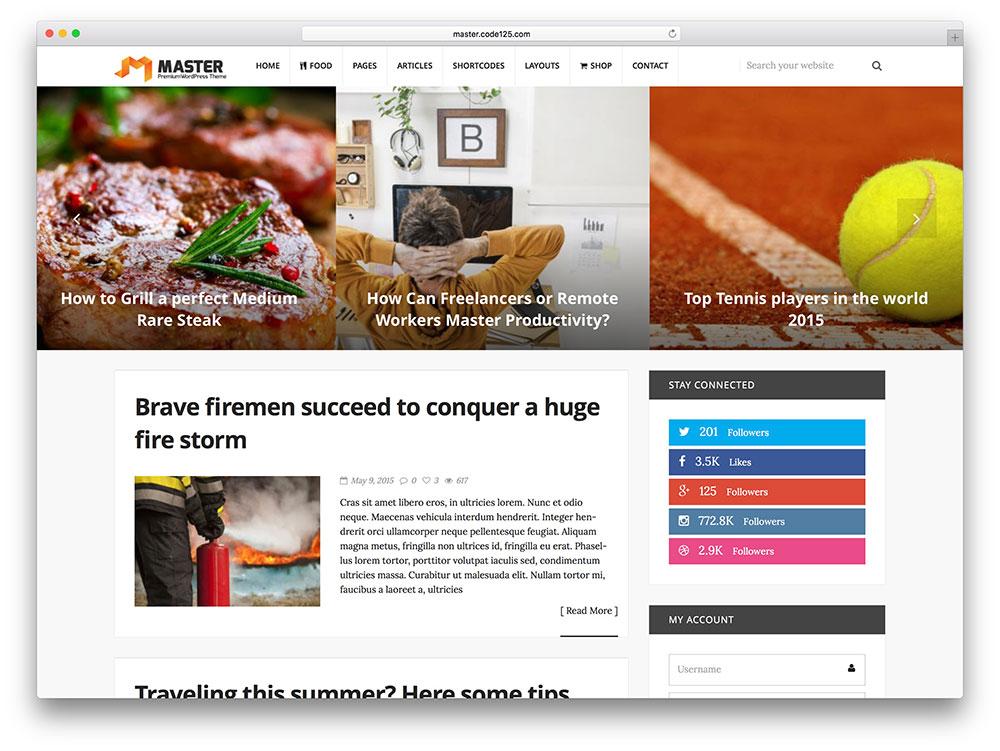 Master – thème de blog WordPress simple