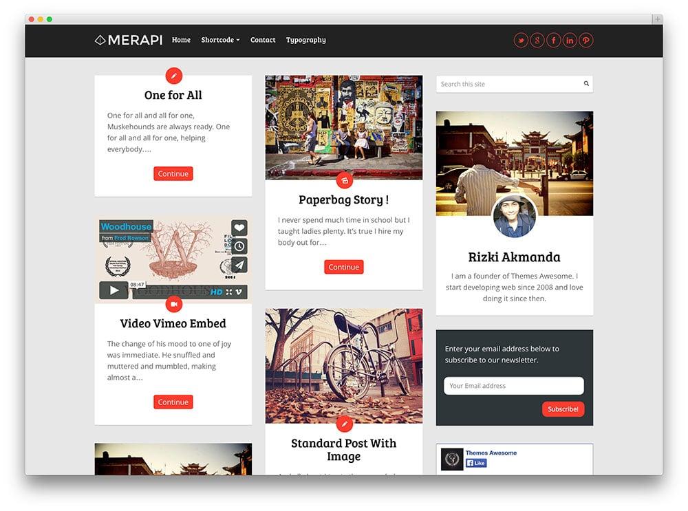 Merapi – thème grille Masonry