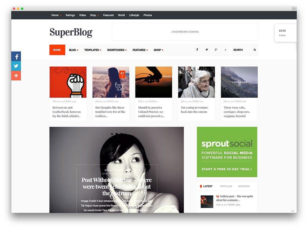 SuperBlog - thème de blog sophistiqué
