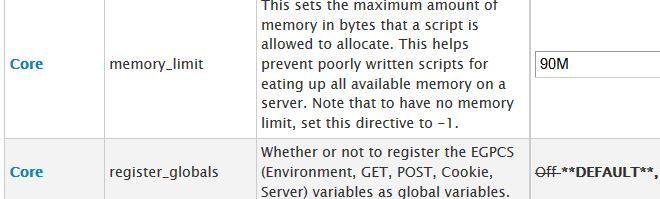 configuration cpanel php mémoire limite