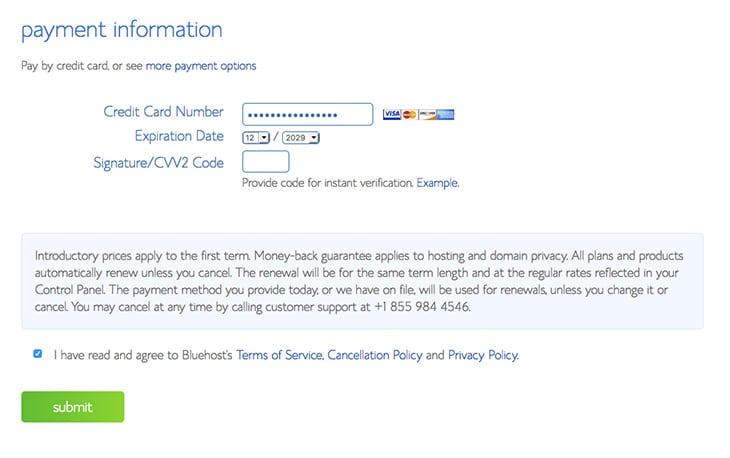 Informations de paiement