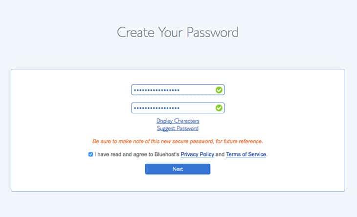 étape 2 choisir mot de passe