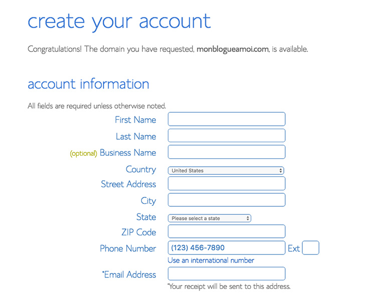 créer un compte Bluehost