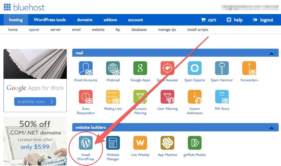Installation Option WordPress Bluehost