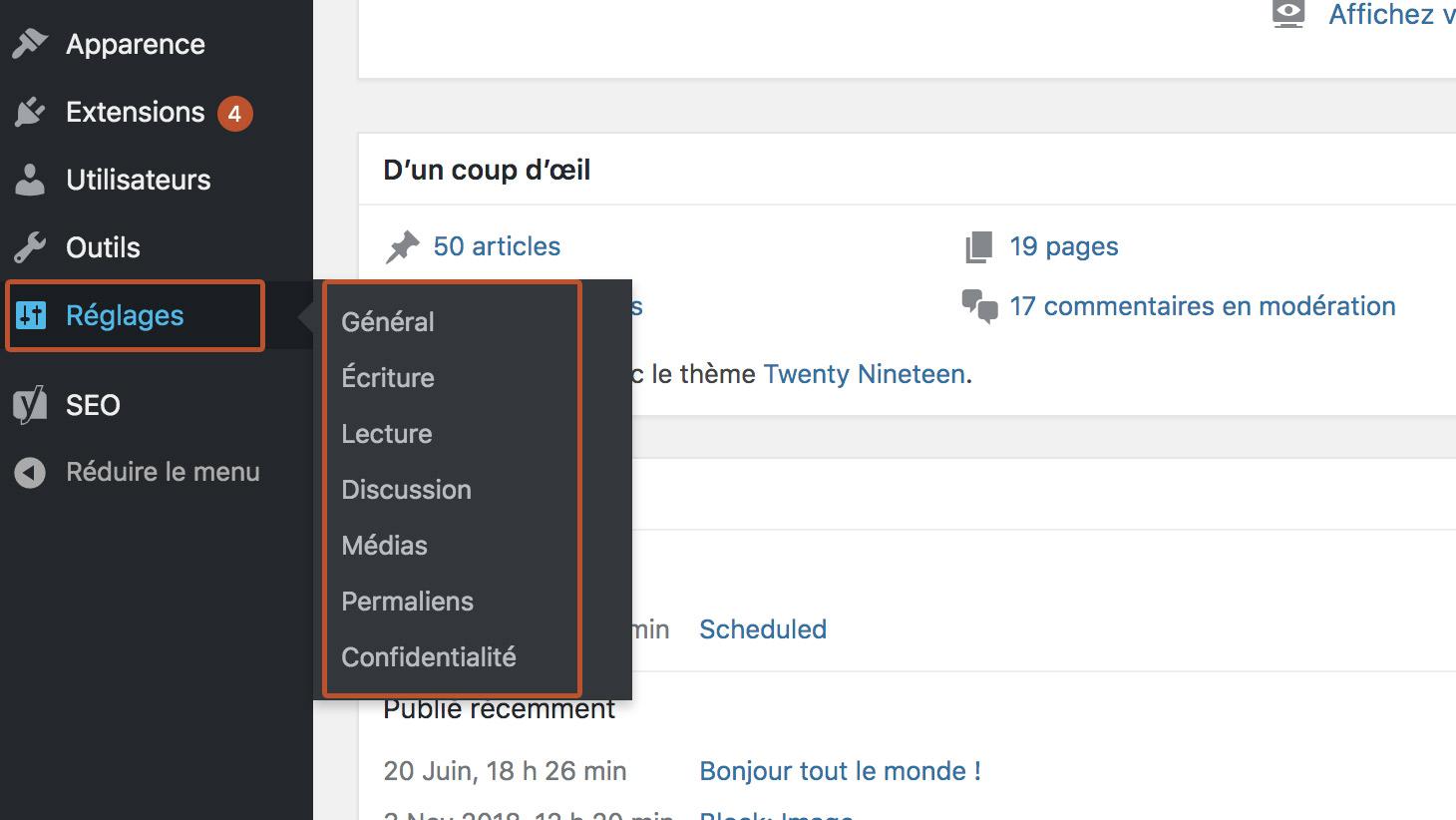 réglage configuration WordPress