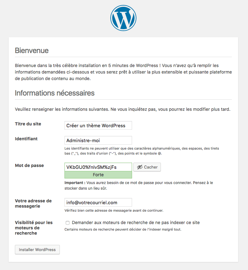 installer wordpress en local étape5