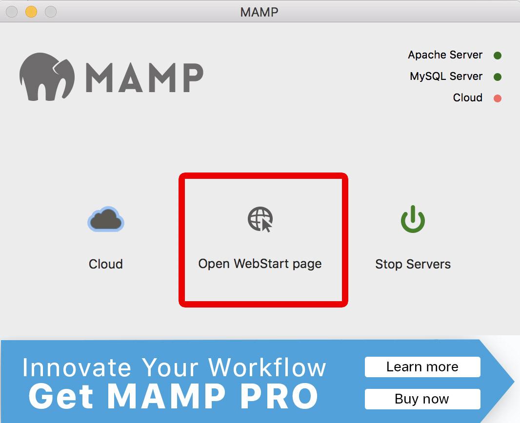 mamp open webstart page