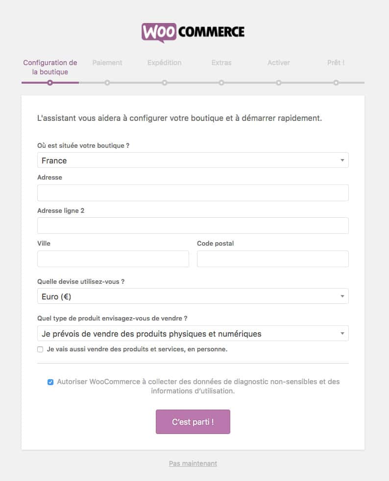 configuration WooCommerce