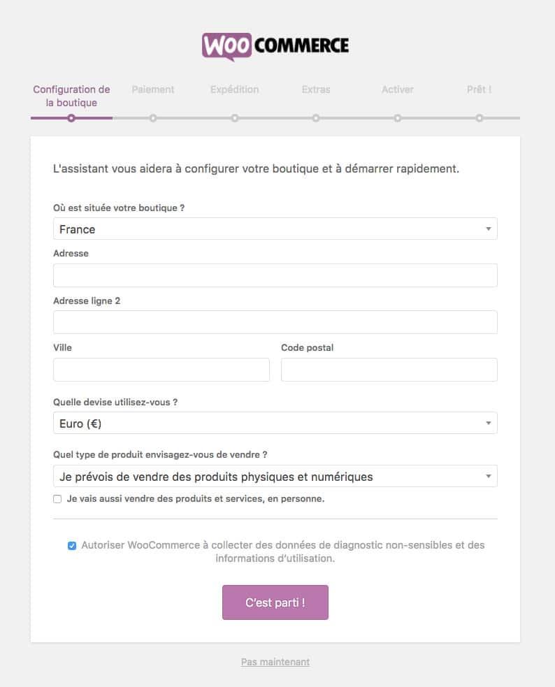configuration WooCommerce