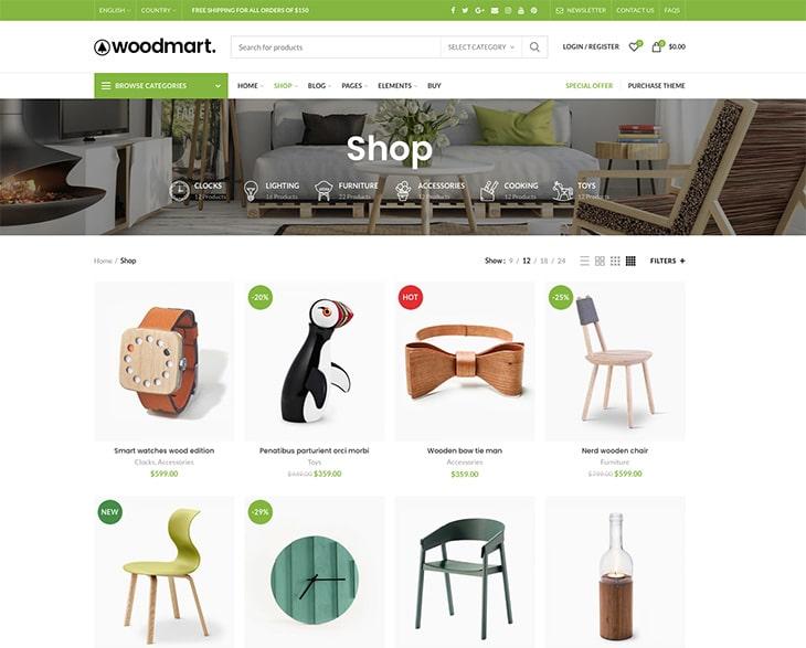WoodMart thèmes WooCommerce responsive