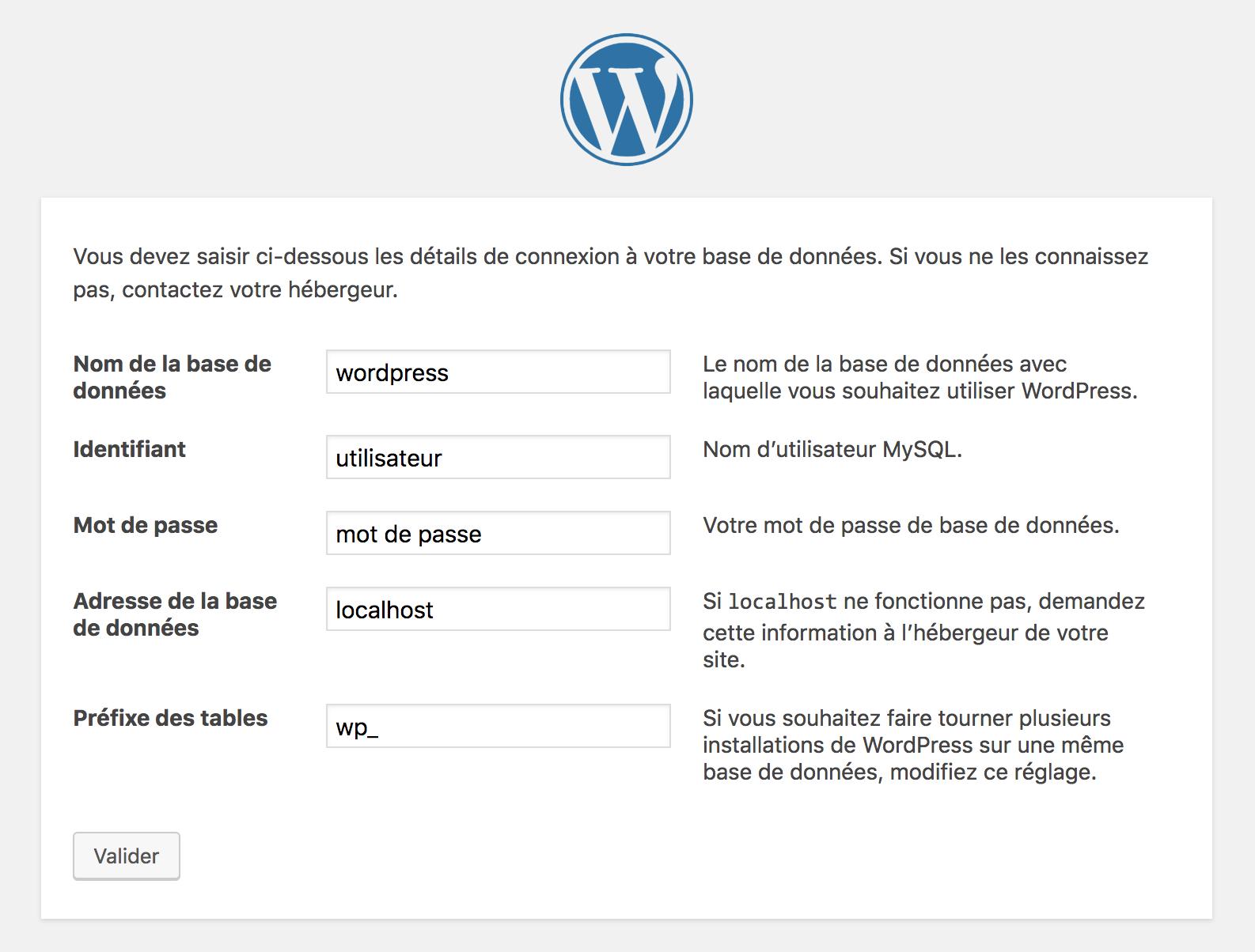 connexion à une base de données WordPress