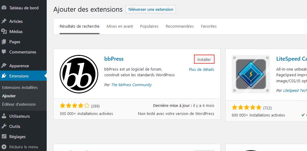 Installer et activer bbPress