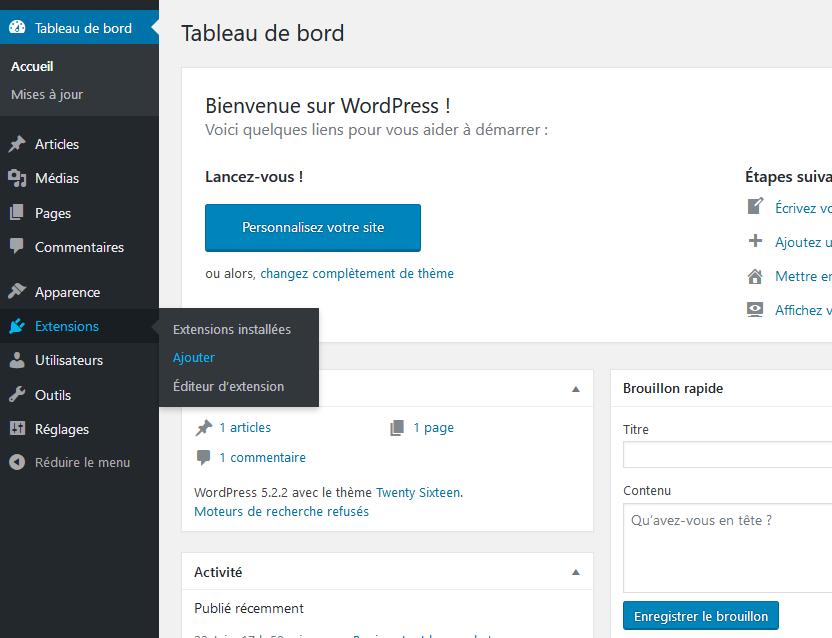Ajouter des plugins via la bibliothèque de WordPress