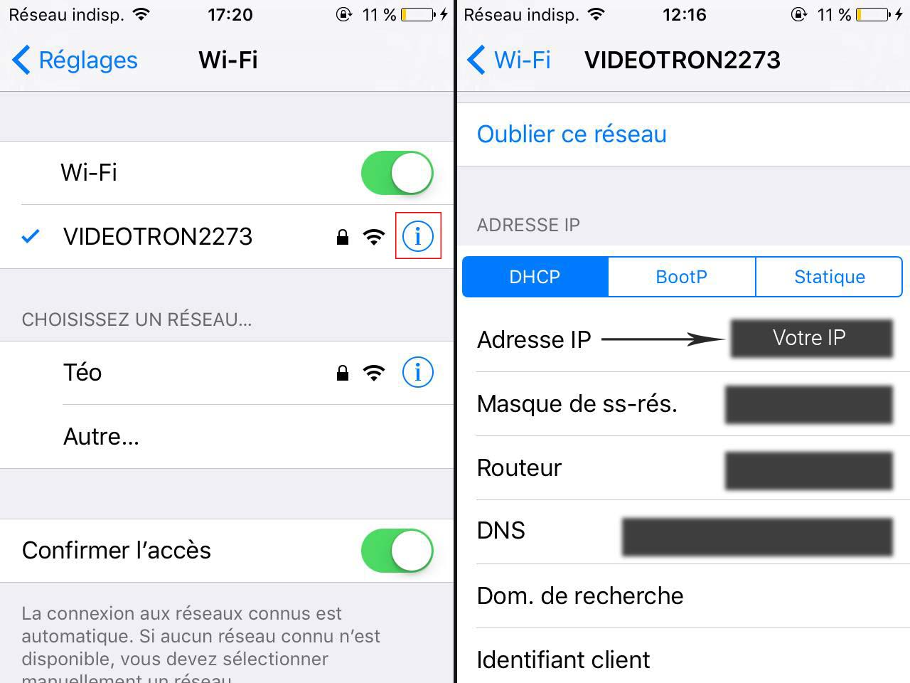 Adresse IP iOS