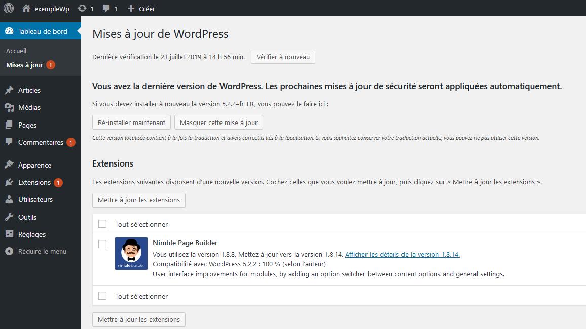 Les mises à jours dans WordPress