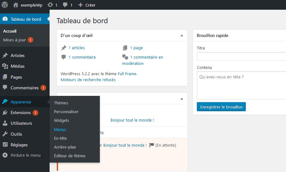 Modification du menu de navigation dans WordPress