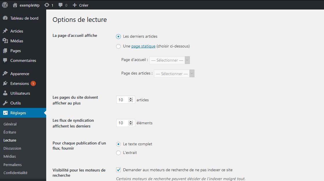 Changer de page d'accueil dans WordPress