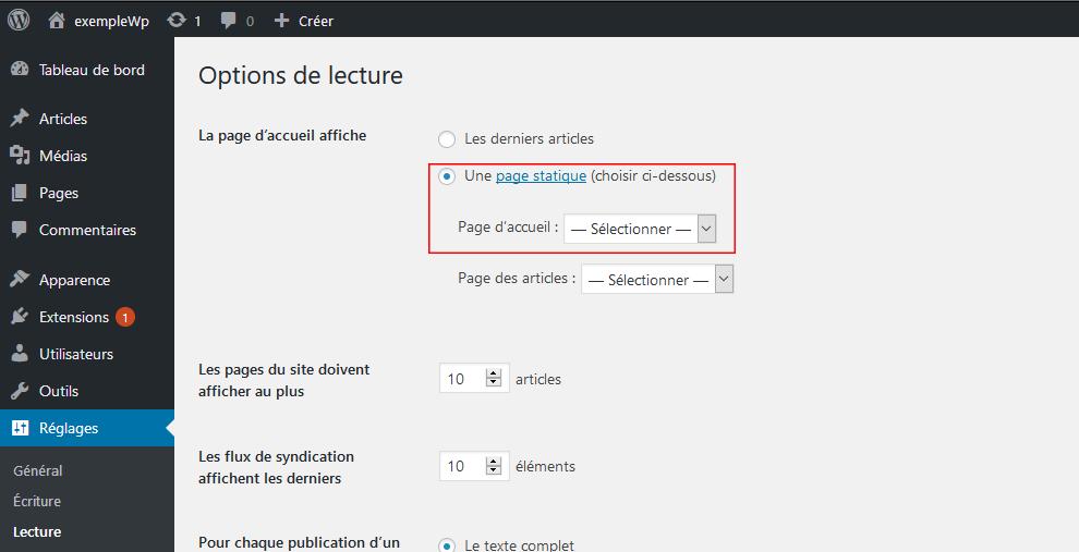 Sélectionner une page d'accueil statique