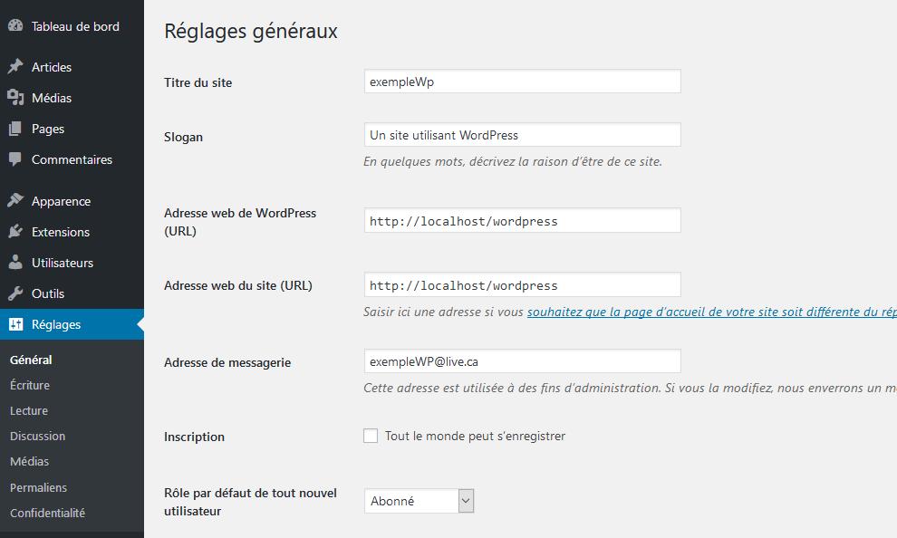 Les réglages dans WordPress