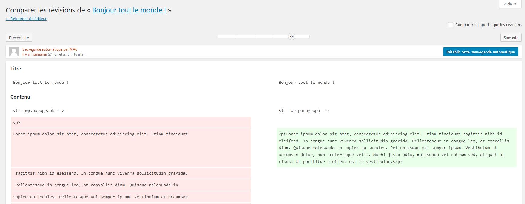La page de révision de WordPress