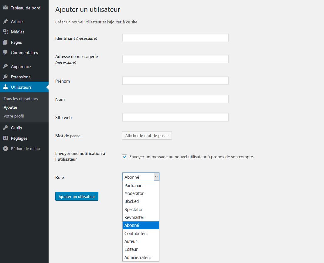 Les différent rôle d'utilisateur dans WordPress