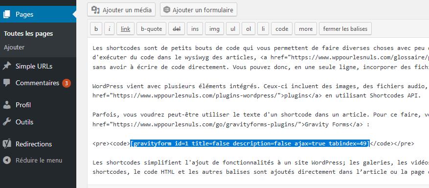 Les shortcodes dans WordPress