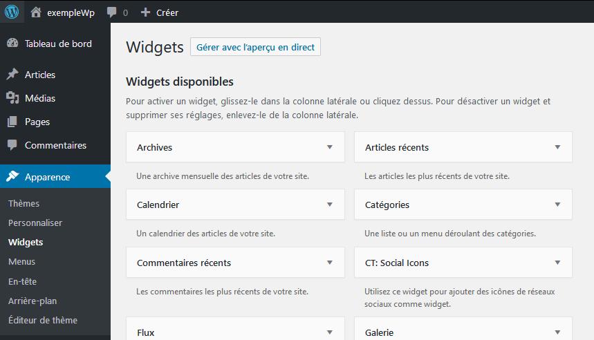 Les widgets dans WordPress