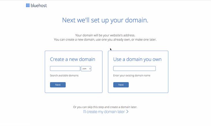 Bluehost choisir nom de domaine