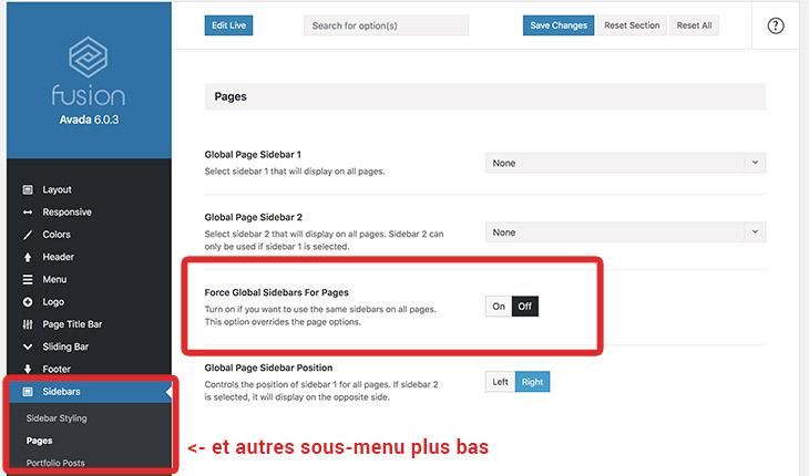 contrôle affichage sidebar site WordPress
