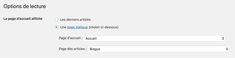 WordPress blog dans une section
