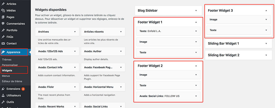 widgets pour footer WordPress