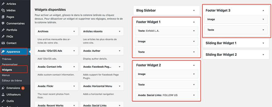 widgets pour footer WordPress