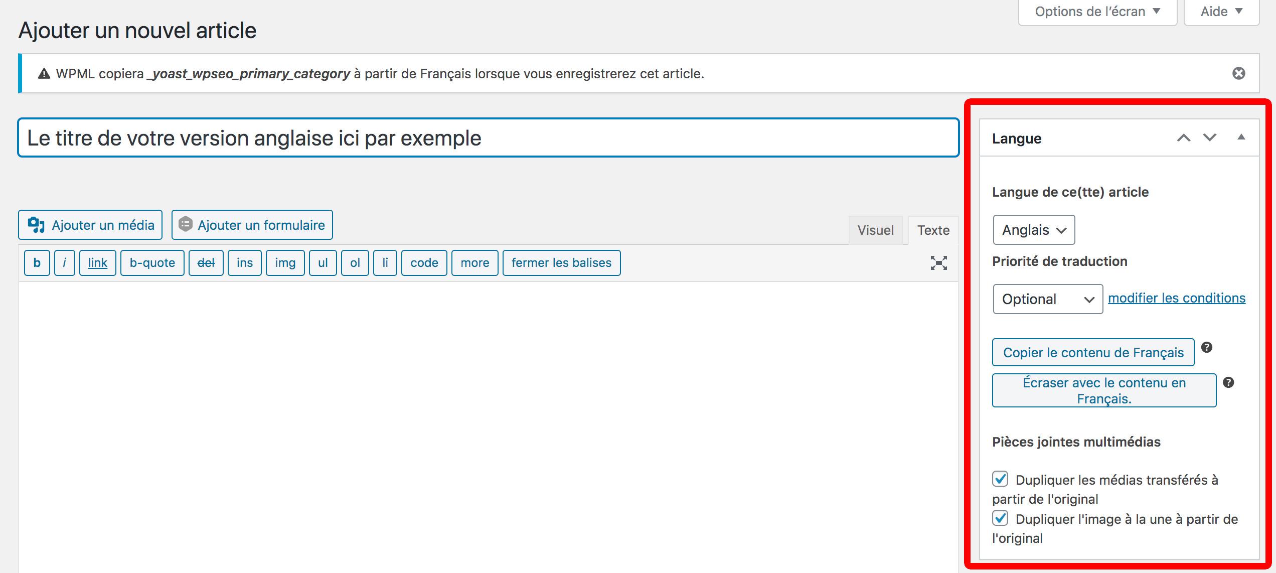 copier le contenu d'une page WPML
