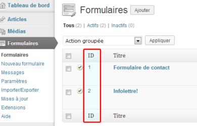 Comment trouver les ID des formulaires Gravity Forms